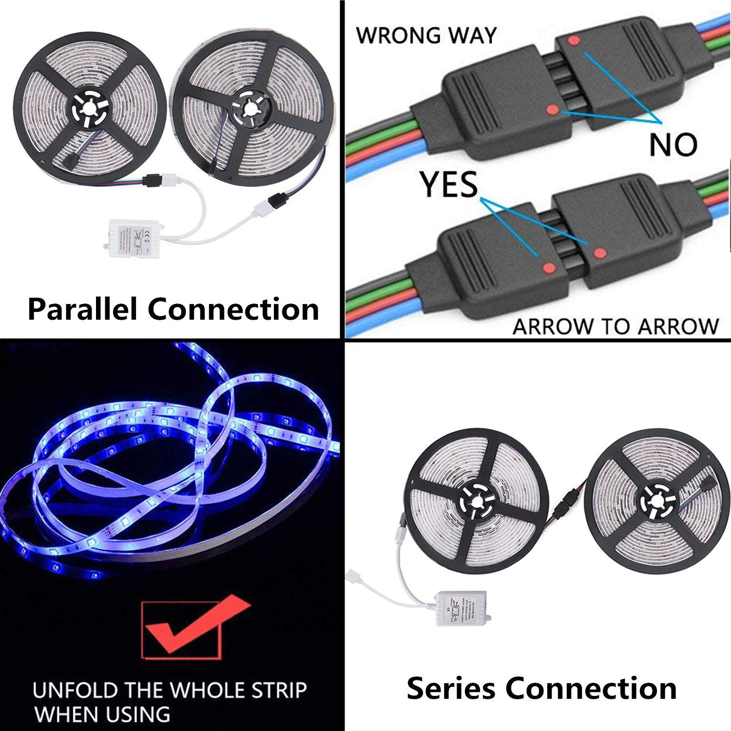 Starlotus Led Strip Lights 32.8ft//10M 300Leds SMD5050 RGB Waterproof Led Rope Light with Sponge Adhesive,360/°Signal 44Key RF Wireless Remote Controller,DC12V Power Supply for Holiday Party Decoration