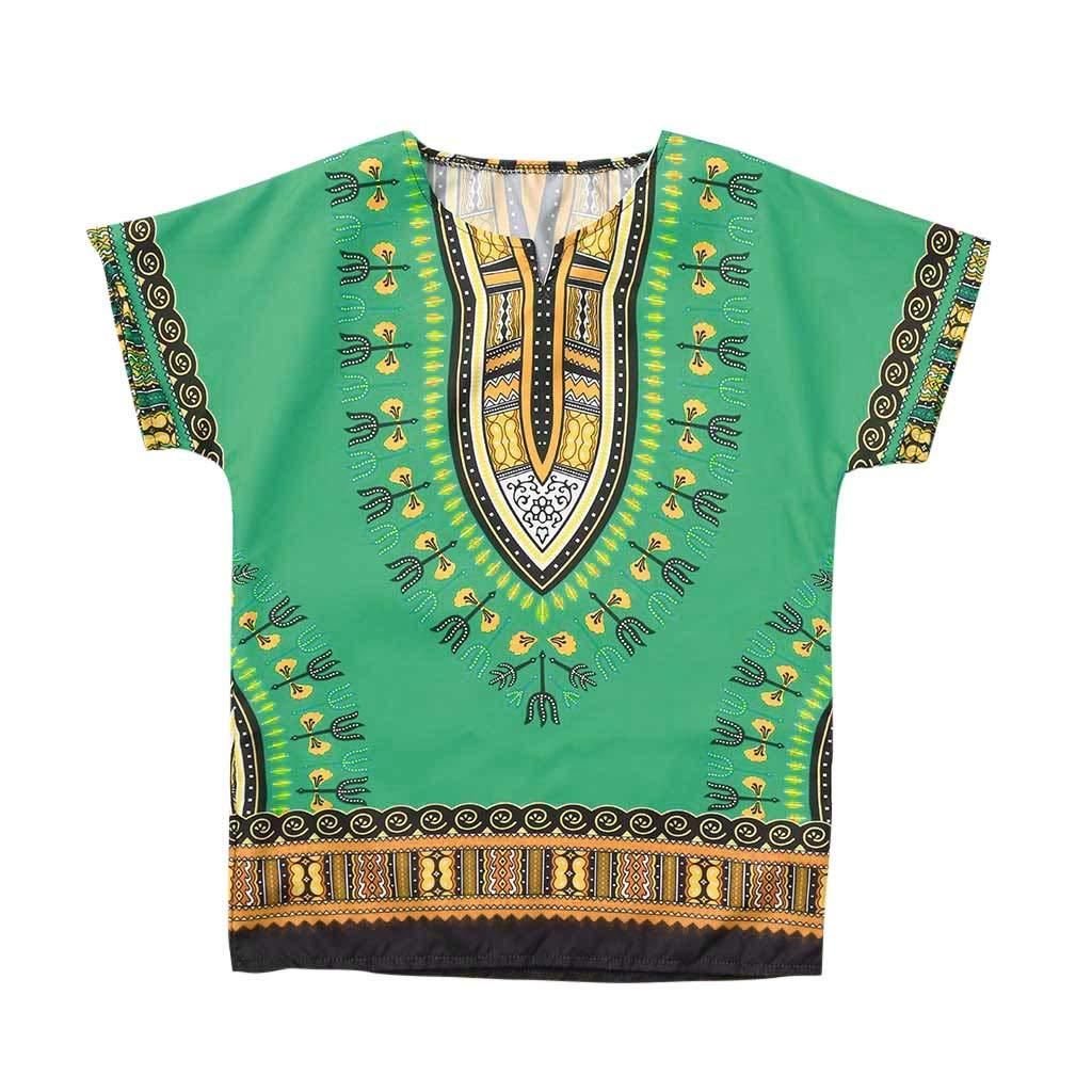 Junge M/ädchen Kinder Baby Unisex Helle afrikanische Farbe Kind Dashiki T-Shirt T-St/ücke Sommerhemd Freizeit Blusentop HEETEY Kinder T-Shirt Sommer Oberteile