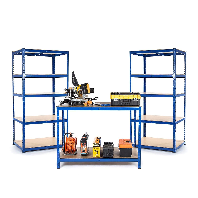 Kit de dé marrage pour petite entreprise ou garage, 2 rayonnages et 1 é tabli 300 mm de profondeur 2 rayonnages et 1établi 300mm de profondeur Racking Solutions