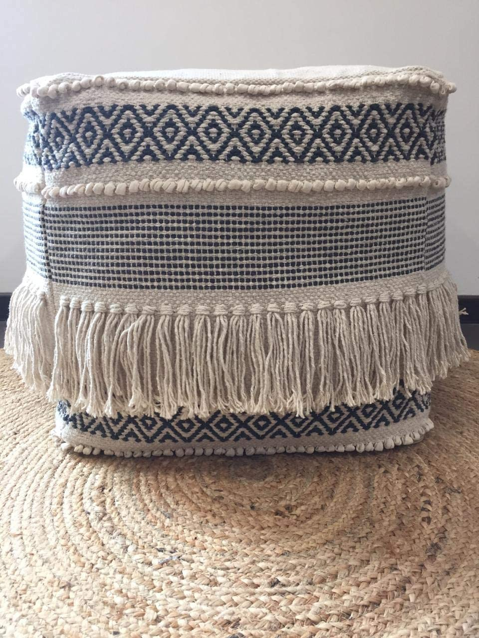 """Jaipur Home Pouf Cover, Unstuffed Ottoman Handmade Woven Foot Stool Soft Knitted Cotton Linen Footrest Square Floor Cushion Unfilled Pouf for Living Room Home Chair,Grey, 17.5""""x17.5""""x12.9"""""""