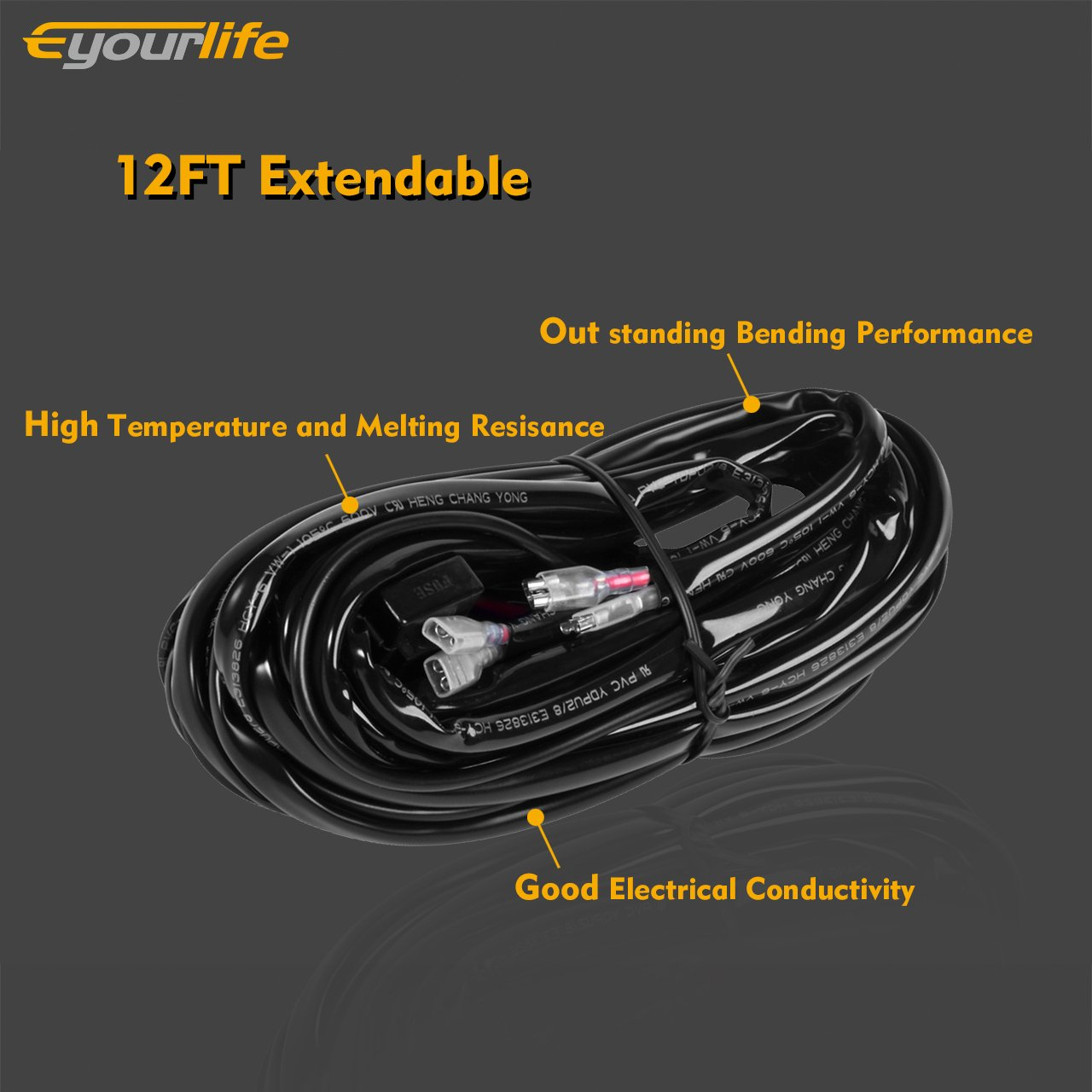 71pmW6YLQfL._SL1280_ amazon com wiring harness,eyourlife 300w 9ft led light bar wiring eyourlife wiring harness diagram at soozxer.org