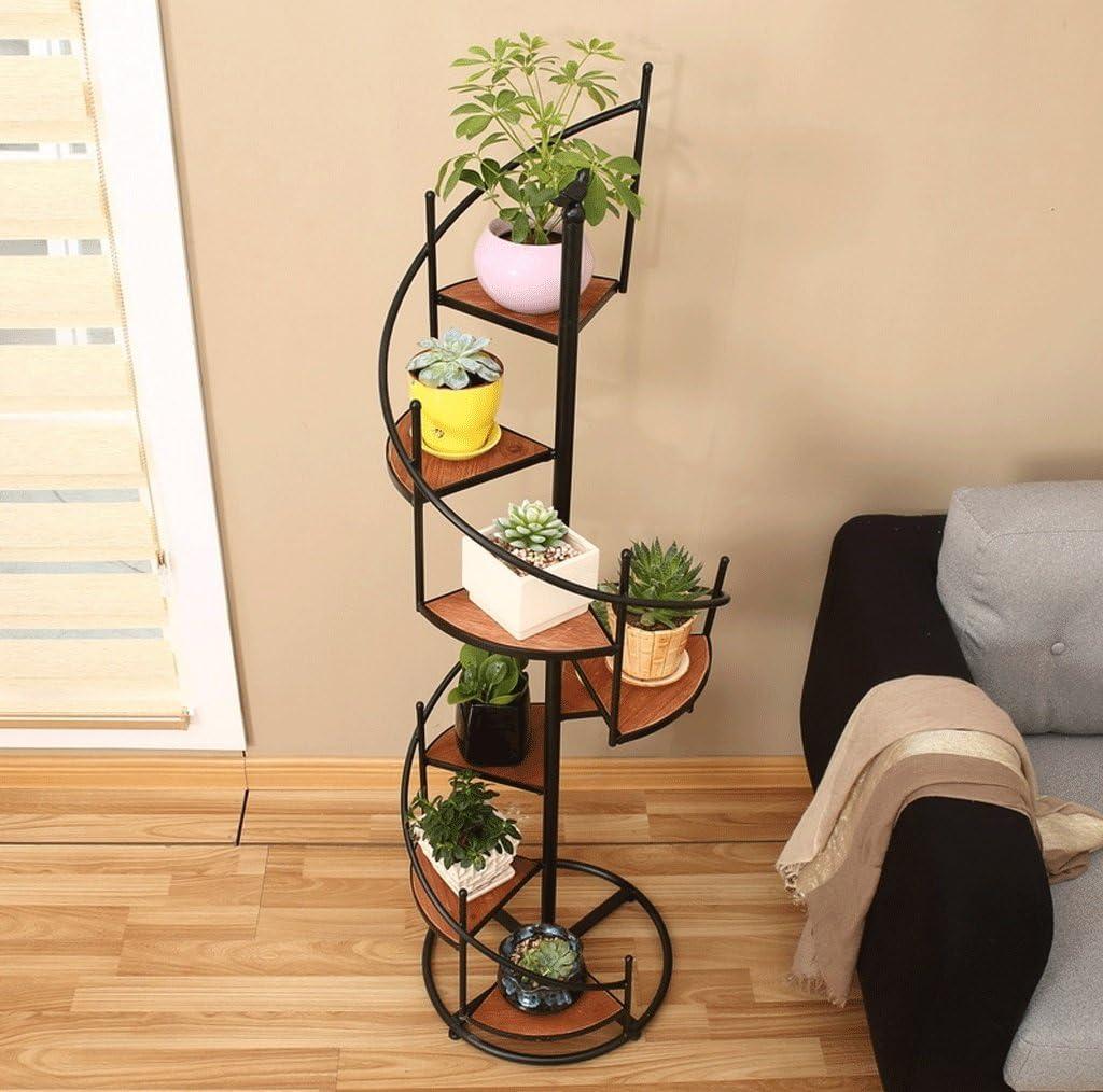 DGF hierro arte flor accesorio de, madera maciza escalera giratoria flores Pot Rack, sala de estar balcón multicapa Plant pantalla de flores accesorio de (L35 cm W17 cm H100 cm): Amazon.es: Jardín