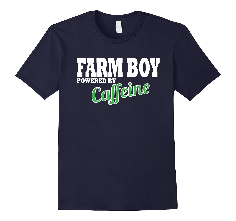 Farm boy T-shirt powered by caffeine men's farming tshirt-BN
