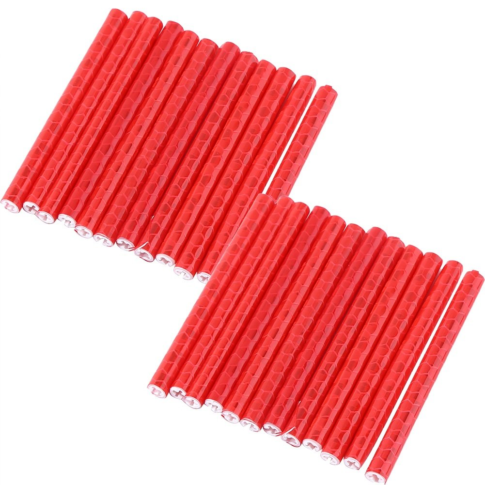 Red Yosoo 2Sets//24Pcs Bicycle Wheel Spoke Reflector Mount Clips Warning Reflective Strip Tube Special for Night Cycling Riding