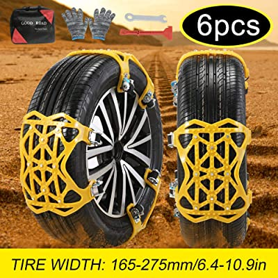 UPEOR Snow Tire Chains Emergency Car Adjustable Anti Slip Tire Chain for SUV/Truck/Cars Snow Tire Cable Car Chains 165-275mm/6.4-10.9'' (Yellow) (Yellow-2): Automotive