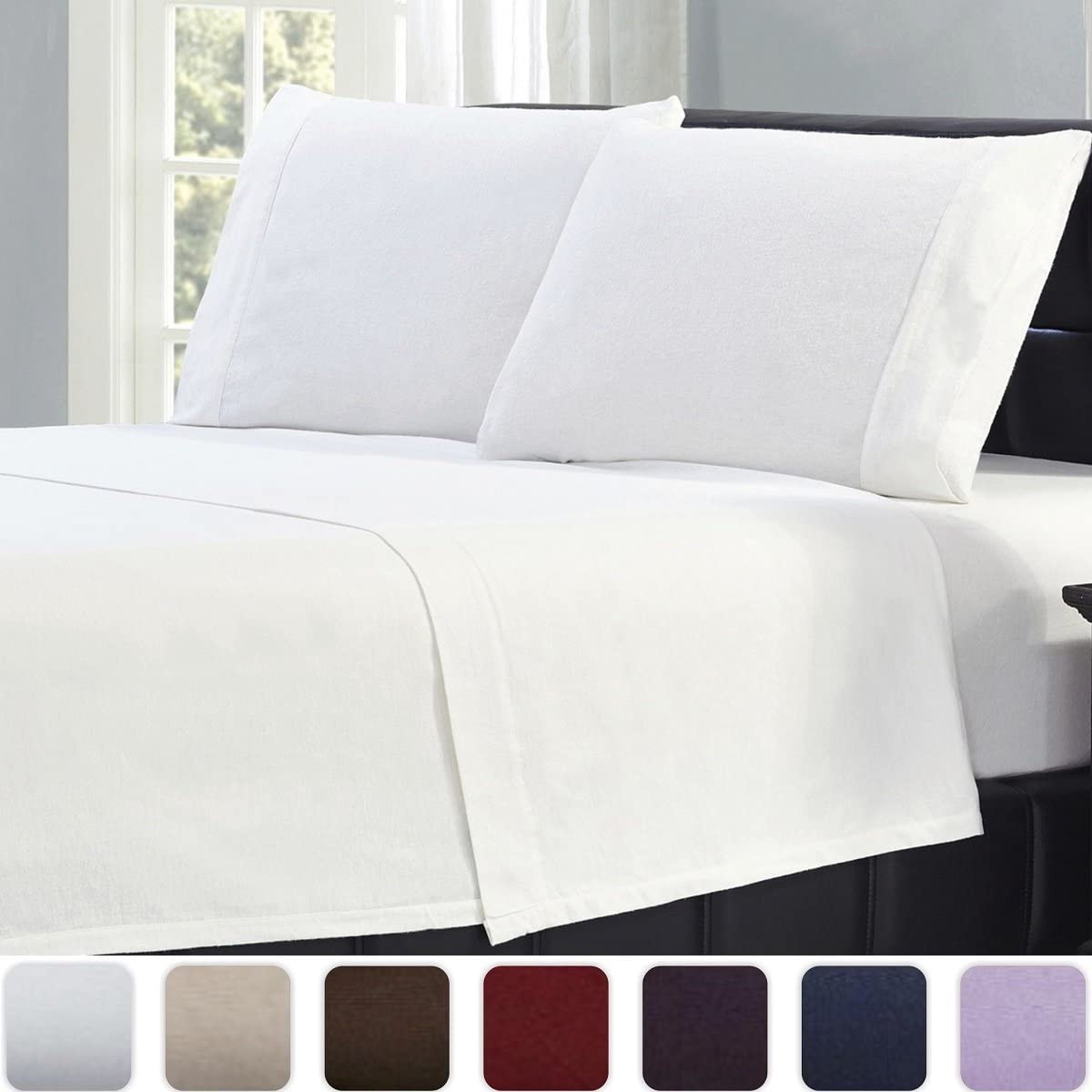 Mellanni California King Flannel Sheet Set - 4 pc Luxury 100% Cotton - Lightweight Bed Sheets - Cozy, Soft, Warm, Breathable Bedding - Deep Pockets - All Around Elastic (Cal King, White)