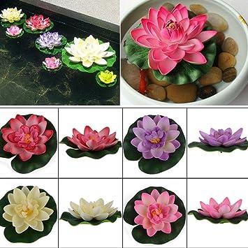 Woopower - Flor de loto artificial de 10 cm. Flor de goma EVA, planta