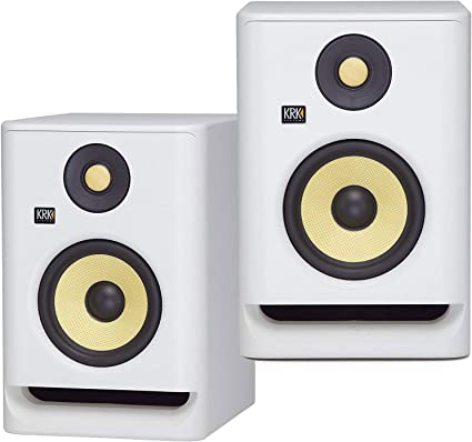 KRK ROKIT RP7G4WN G4 7 Bi-Amped Studio Monitor DSP Speaker White w//AxcessAbles Isolation Pads Audio Cables and eStudioStar Polishing Cloth
