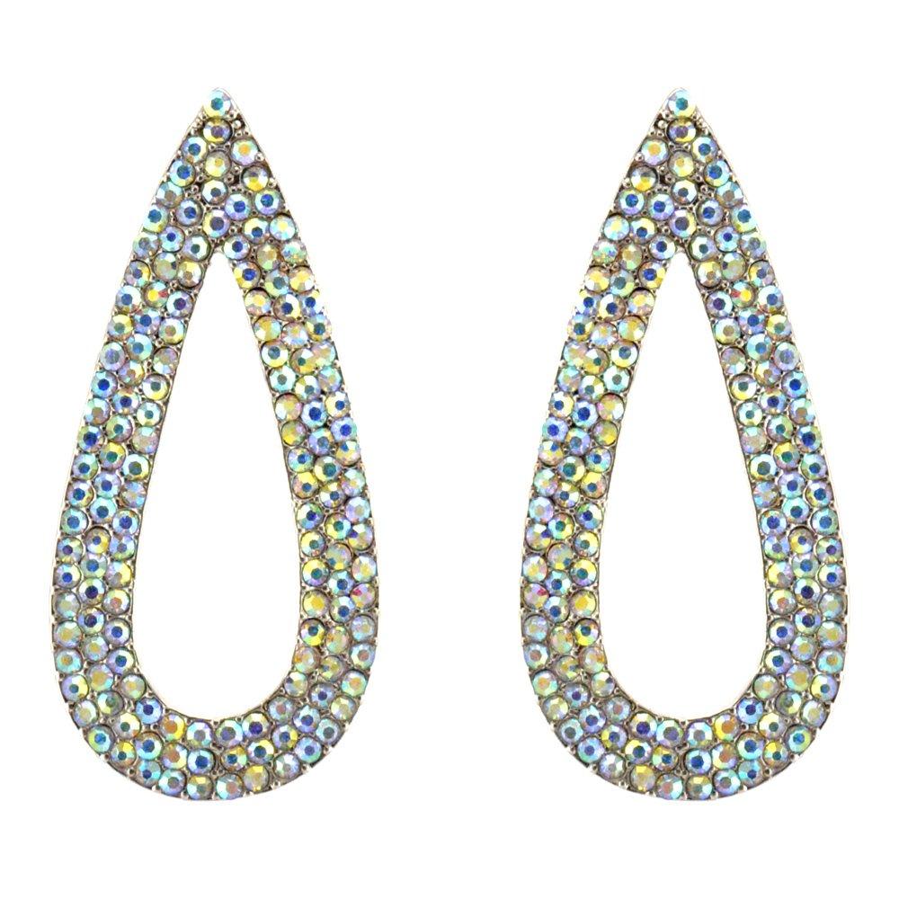 363-CLEAR AB Fashion Party & Wedding Jewelry Tear Drop Dangle Chandelier Alloy Rhinestone Earrings