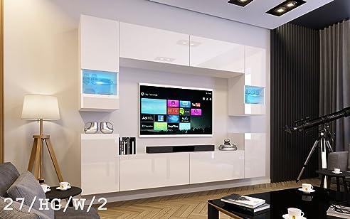 FUTURE 27 Wohnwand Anbauwand Wand Schrank TV Wohnzimmer Wohnzimmerschrank Hochglanz Weiss Schwarz LED RGB