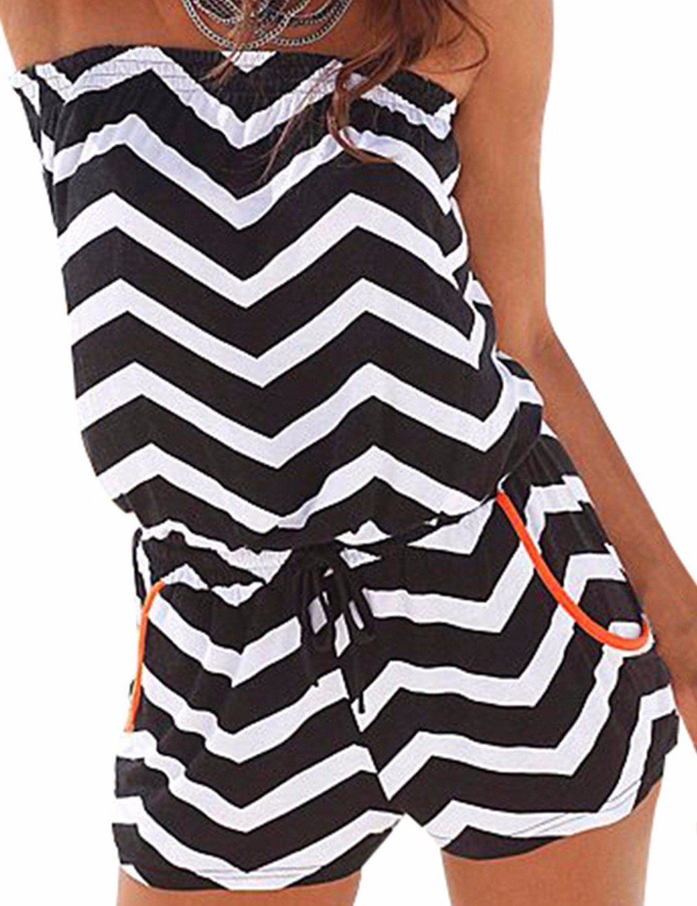 Sexyshine Women's Strapless Off Shoulder Printed Beachwear Short Rompers Jumpsuits Blackwhite,L