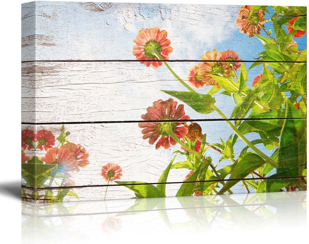 Flowers Reaching Towards The Sunlight - Rustic Floral Arrangements - Pastels Colorful Beautiful - Wood Grain Antique - Canvas Art Home Art - 12x18 inches
