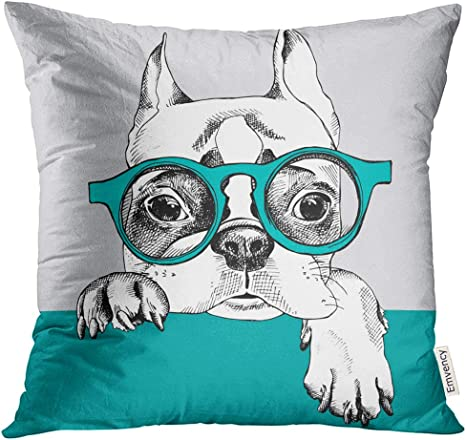 Emvency Throw Pillow Cover Dog With Portrait Of French Bulldog In Glasses Pet Decorative Pillow Case Home Decor Square 18x18 Inches Pillowcase Home Kitchen
