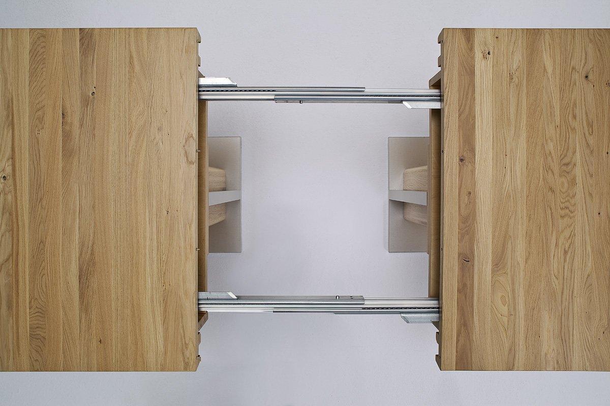 Robas Lund Tisch Esstisch Säulentisch Bari Ausziehbar Eiche Massiv  Edelstahloptik 180(330)x77x90 Cm: Amazon.de: Küche U0026 Haushalt