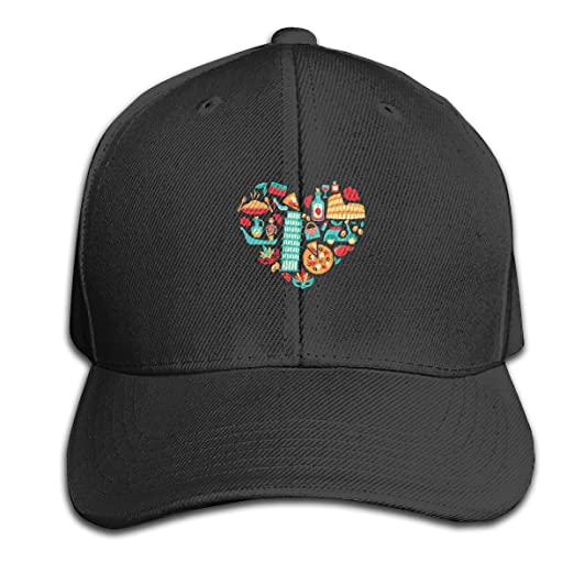 70d2d0e5 Amazon.com: I Love Italy Pizza Classic Baseball Cap Dad Hat Plain Hat with  Adjustable Buckle Black: Clothing