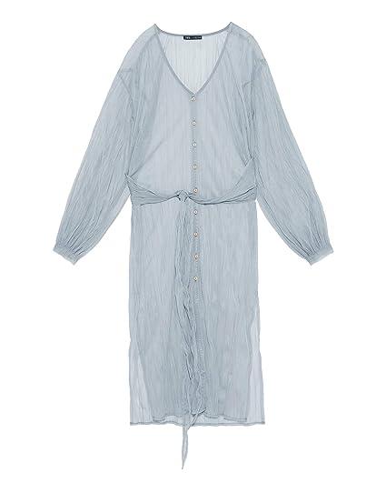87ea35affa7 Zara Women's Semi-Sheer Dress 7901/328 Grey: Amazon.co.uk: Clothing