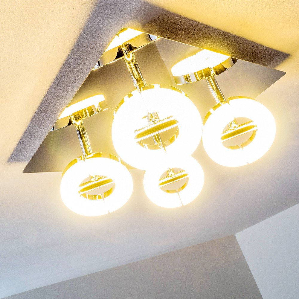 LED Deckenspot Paris, länglicher LED Strahler 6-flammig im im im modernen Design, 3000 Kelvin warmweißes Licht, verstellbare, runde Leuchtenköpfe für individuellen Lichteinfall, Wohnzimmer Deckenlampe b35926
