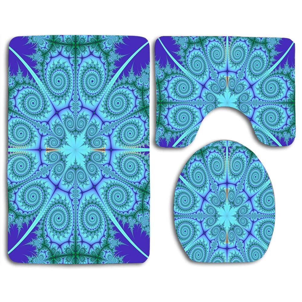 Quick Dry Bath Rugs Set Doormat Mat Sets,Joy Non Slip Soft Floor U-Shaped Contour Pad Toilet Lid Cover + Pedestal Rug + Bath Mat for Bathroom by YeYEhiQ