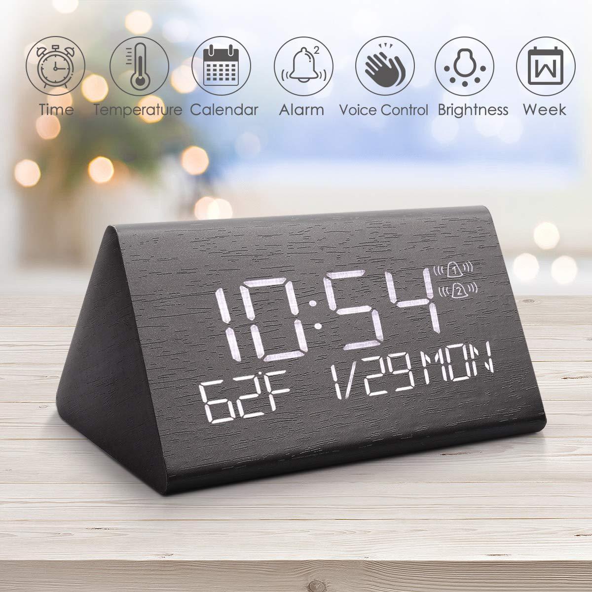 Fannel Digital Alarm Clock, Adjustable Brightness Voice Control Desk Wooden Alarm Clock, Large...