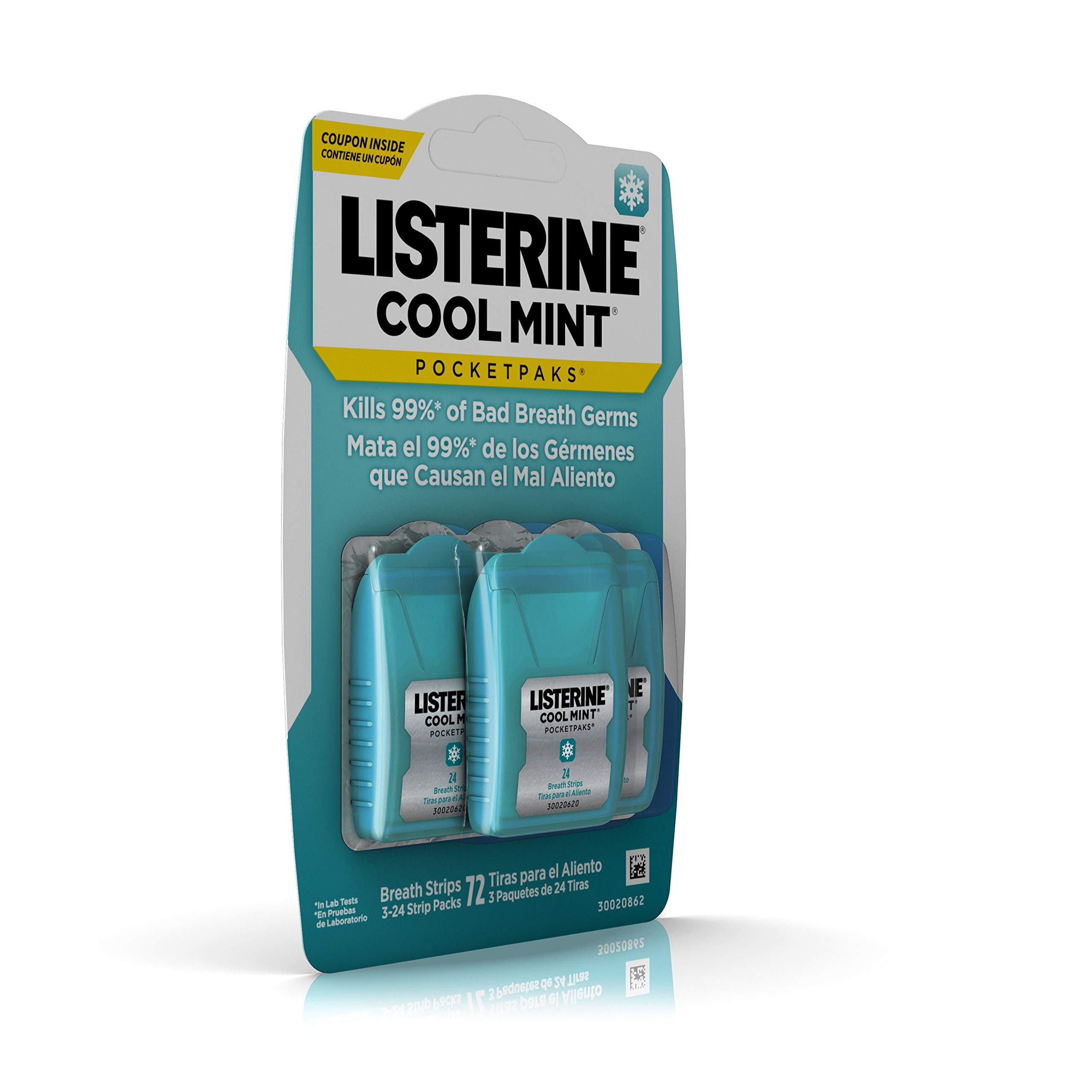 Listerine Cool Mint Pocketpaks Breath Strips Kills Bad Breath Germs, 24-Strip Pack, 3 Count (Pack Of 6) by Listerine (Image #3)