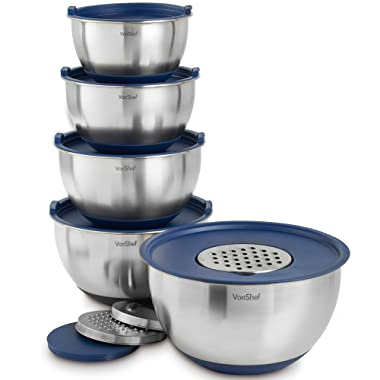 VonShef Nested Mixing Bowl Set With Lids, Non Slip Surface, Measurement Marks and 3 Assorted Grater Attachments, Stainless Steel Mirror Finish Bowls, 5 Piece,Silver/Blue