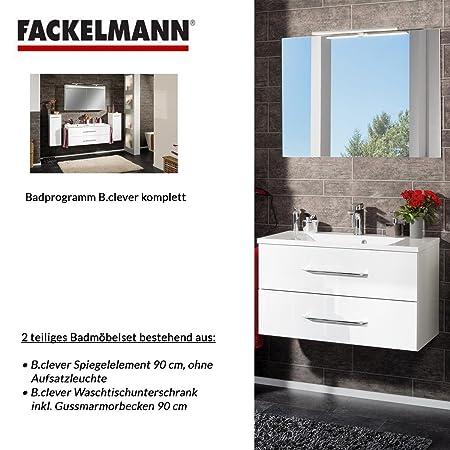 Fackelmann Badmobel Set B Clever 2 Tlg 90 Cm Weiss Mit Waschtisch