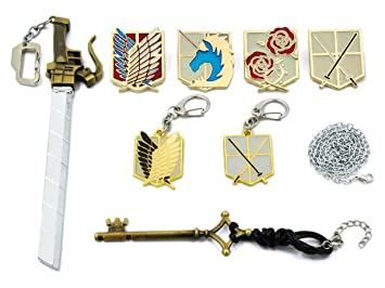 CoolChange Caja de colección para Joyas de Ataque a los Titanes con 2 llaveros, 4 broches Grandes, un Llavero en Forma de Espada y un Colgante en ...