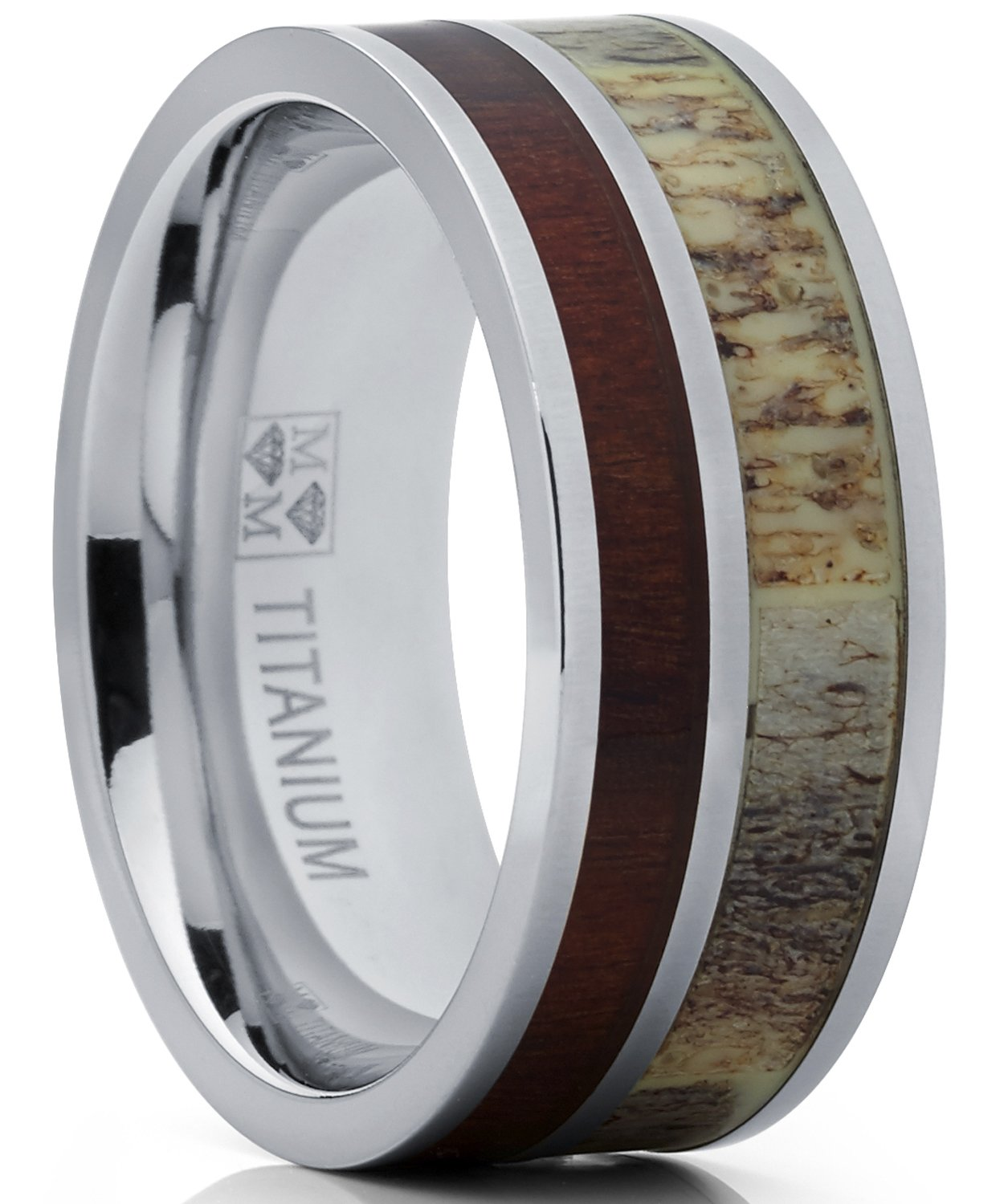 Metal Masters Co. Men's Titanium Ring Wedding Band with Real Antler and Koa Wood Inlay, Outdoor Hunting, comfort fit 9