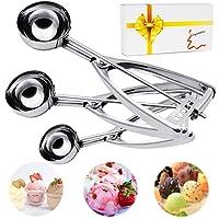 Ice Cream Scoop, LeiTop 3PCS Stainless Steel Trigger Cookie Scoop, Melon Baller, Baking, Fruit Salad Scoop, Spoon Kit