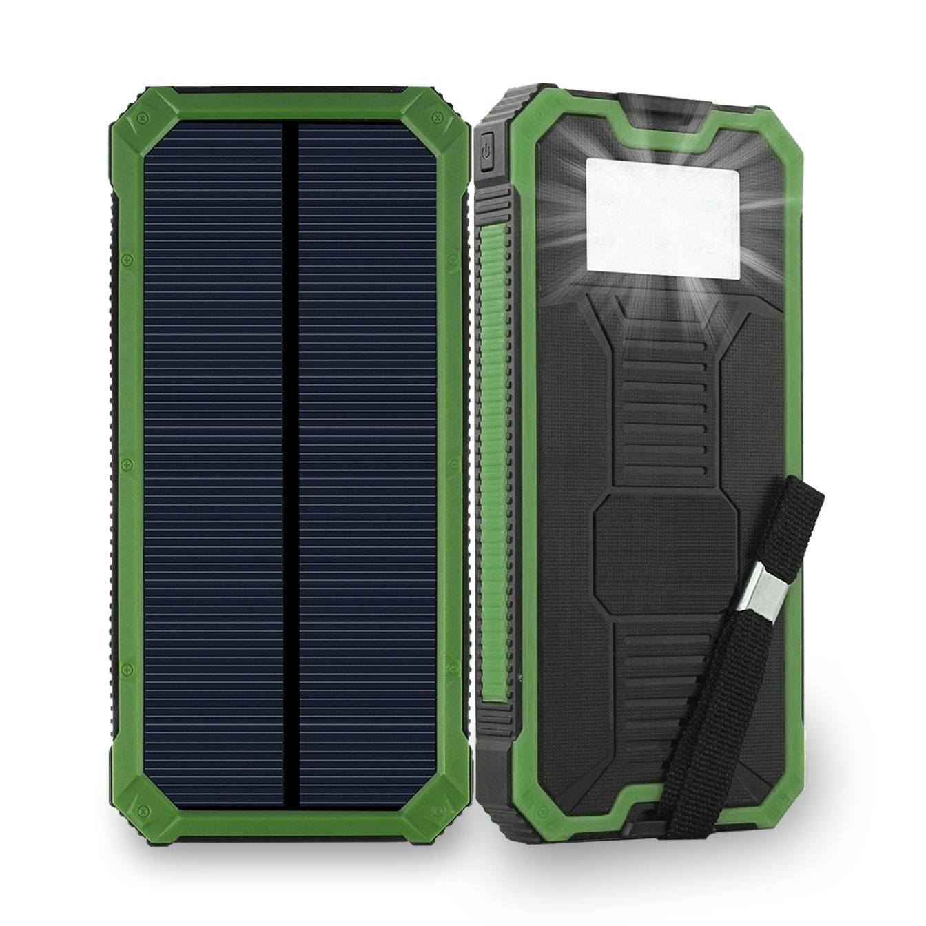 Solar Phone Charger Friengood 15000mAh Portable Solar Power Bank with Dual USB Ports, Waterproof Solar Battery Charger with 6 LED Flashlight Light for iPhone, iPad, Cellphone and More (Green)