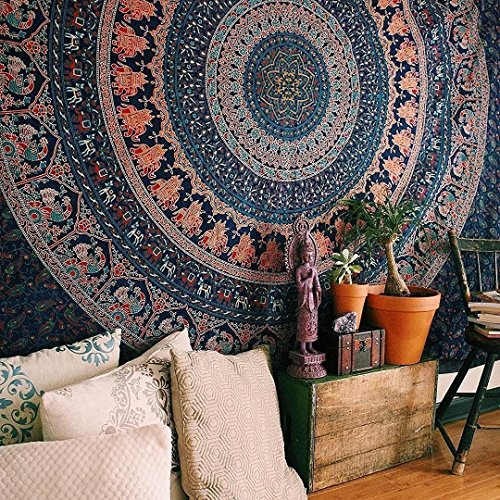 "Popular Handicrafts Th509 extra large Hippie Mandala Mandala Bedding for Bedroom Bohemian Psychedelic Picnic Blanket Beach Throw Indian Bedspread Magical Thinking tapestry 90""x108""(230x270cms) Blue"