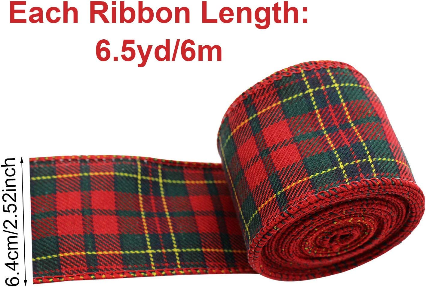 4 Rolls Christmas Wired Edge Ribbons Black White Buffalo Plaid Ribbon 26 Yards 2.5 Inches Black Red Plaid Ribbon Red Green Plaid Ribbon Burlap Craft Ribbon for Xmas Decor DIY Gift Wrapping