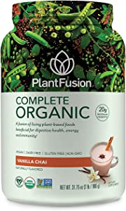 PlantFusion Complete Organic Plant Based Pea Protein Powder | Fermented Superfoods | Vegan, Gluten Free, Non Dairy, Soy Free, Vanilla, 2 LB