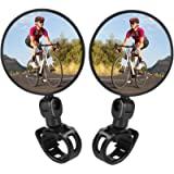 TAGVO Bike Mirrors, 2pcs Bicycle Cycling Rear View Mirrors Adjustable Rotatable Handlebar Mounted Plastic Convex Mirror…