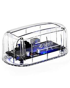 ORICO - USB 3.0 Estación de Acoplamiento Disco Duro - Docking Station para 2.5/3.5 Pulgadas HDD/SSD - Soporta hasta 8TB - LED Indicador - Transparente
