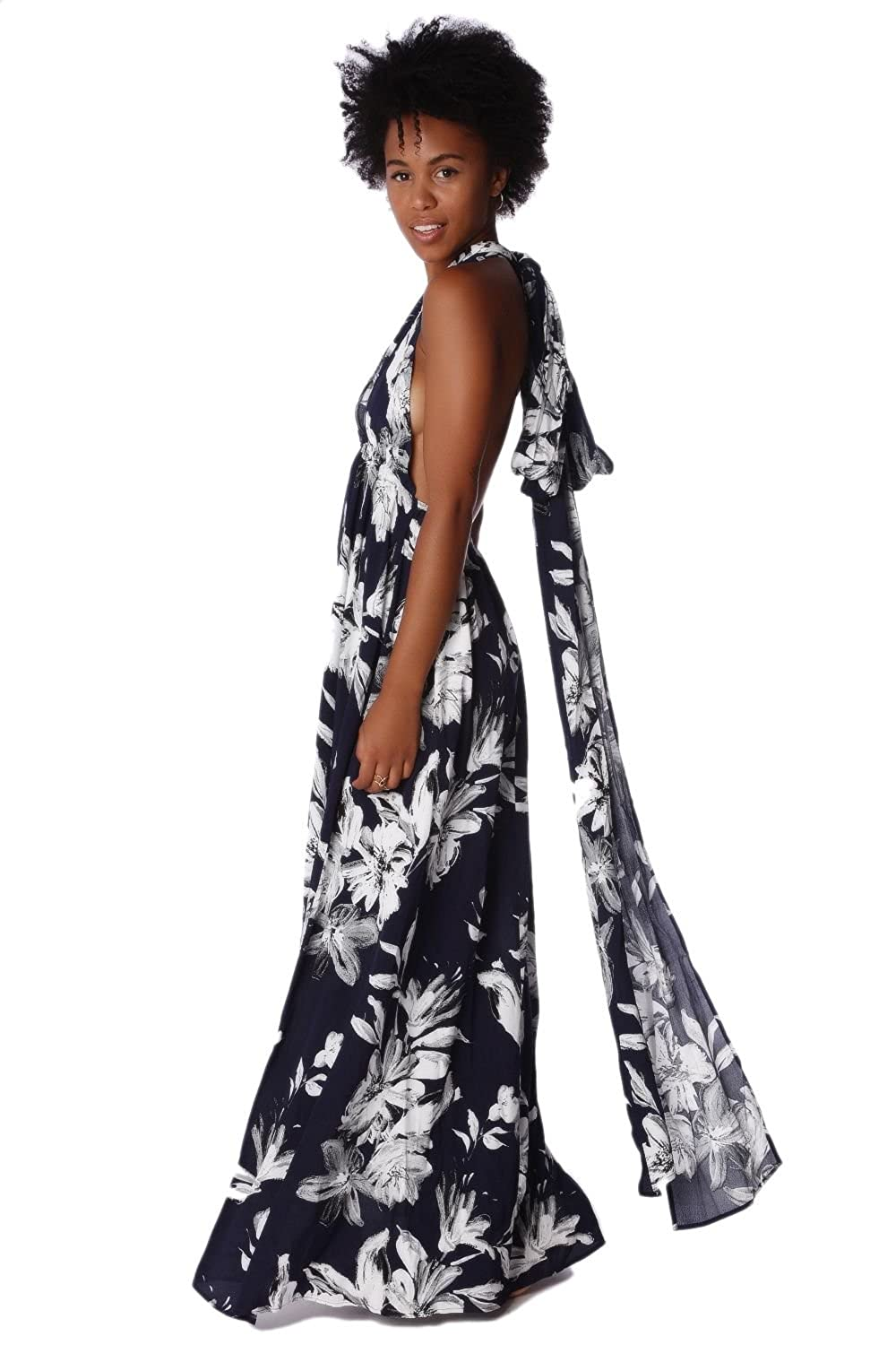 Q2 Women's Navy blue cross back maxi dress in floral print