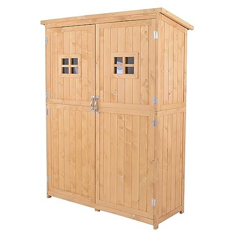 Outsunny Cobertizo de Madera Caseta Exterior Armario Herramientas de Jardinería Doble Puertas Techo Impermeable Compartimientos de
