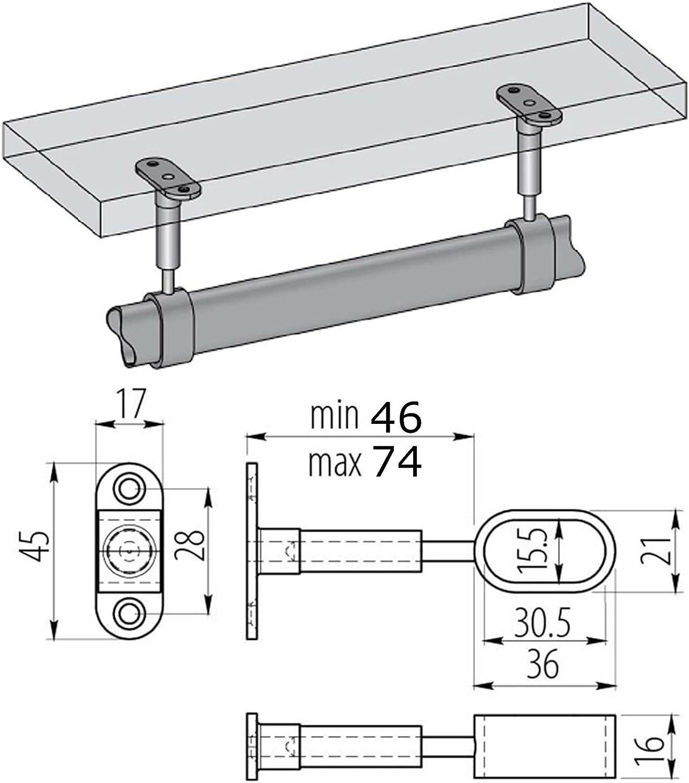 SO-TECH/® Barra de Gabinete 1000 mm REDONDO /Ø 25 mm Cromo con 2 piezas de Barra de Gabinete TUBE Barra de Perchero Inoxidable//Dise/ño se encuentra con la funci/ón