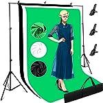 Photography Studio Backdrops Stand Kit, 3 x White Black Green Screens
