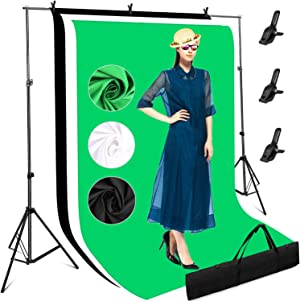 Photography Studio Backdrops Stand Kit, 3 x White Black Green Screens with 10 x 6.6 ft Adjustable Stand Video Photo Backgrounds Support Equipment Set for Zoom, 2 Tripods, 3 Clamps, 1 Carrying Bag
