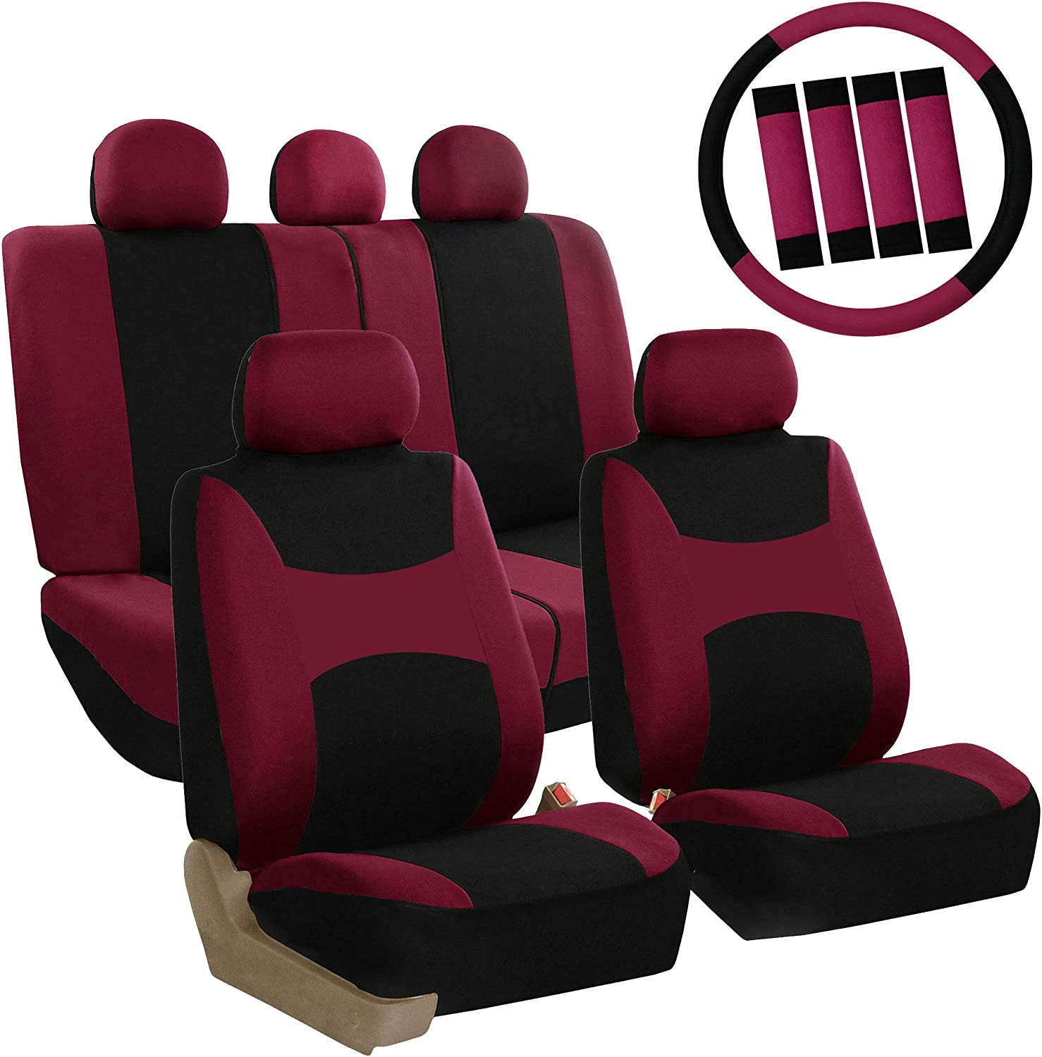 FH Group FB030BURGUNDY-COMBO Seat Cover Combo Set with Steering Wheel Cover and Seat Belt Pad (Airbag Compatible and Split Bench Burgundy)
