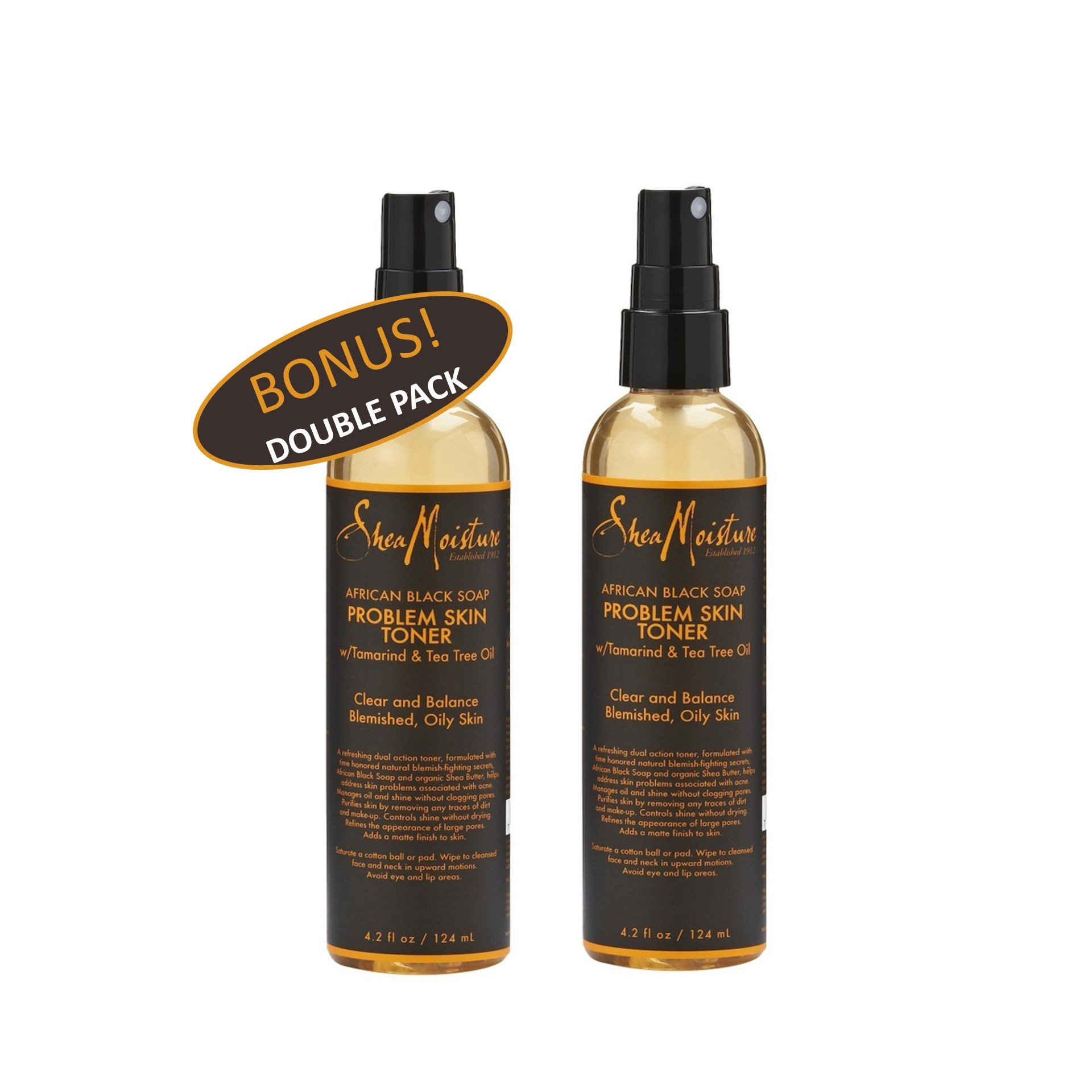 Shea Moisture African Black Soap Problem Skin Toner w/ Tamarind & Tea Tree oil 4.2 oz Value Double Pack qty of 2 Each by Shea Moisture