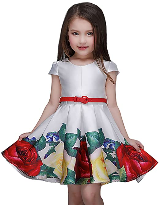 Amazon.com: Newill Girls Round Collar Red Belt Floral Printed Satin Dress Casual Dress: Clothing