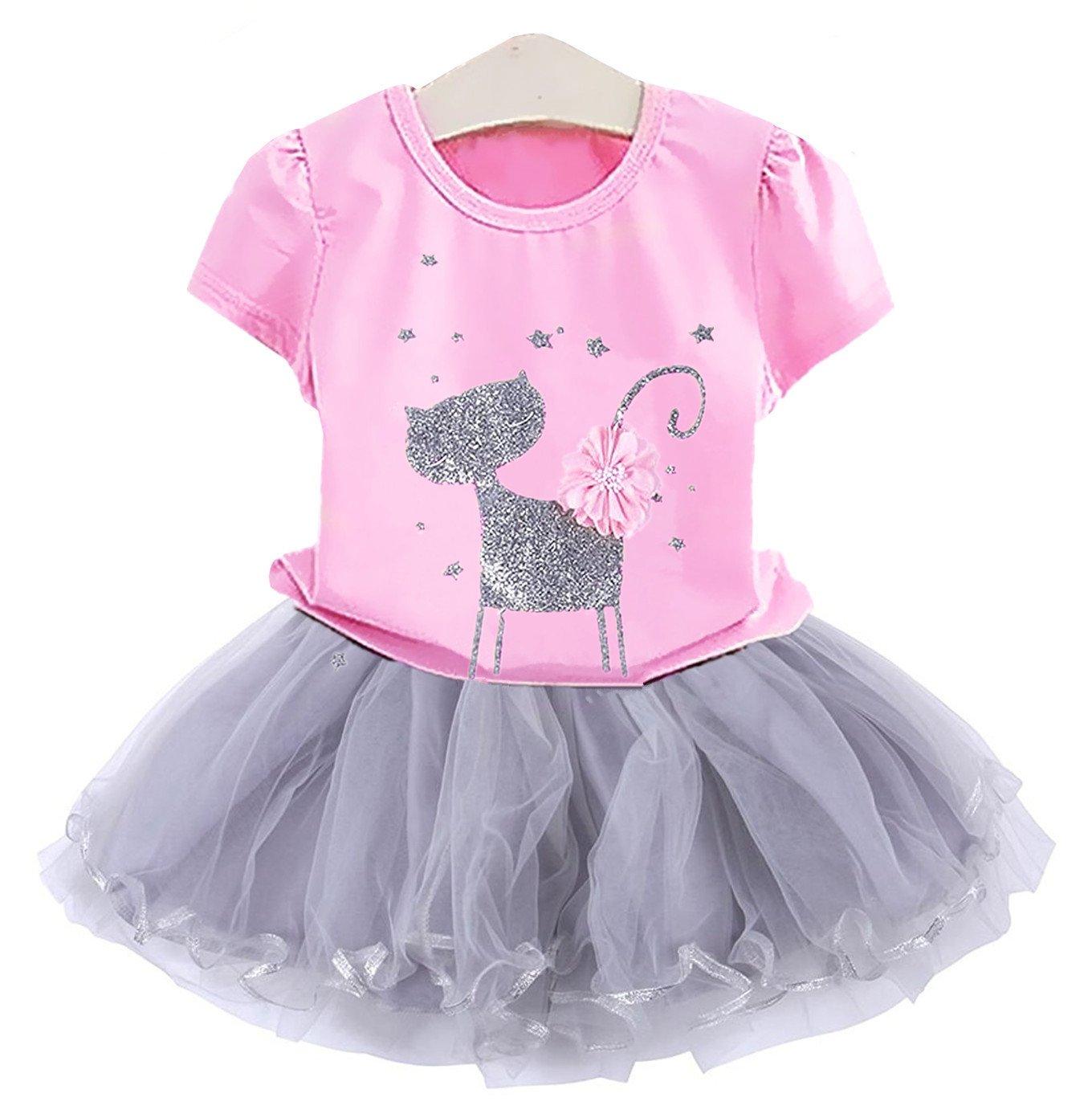 2Bunnies Girl Cat 3D Sequin Bow Sparkle Tutu Butterfly Tulle Skirt Dress Sets (4T, Bubblegum Pink)