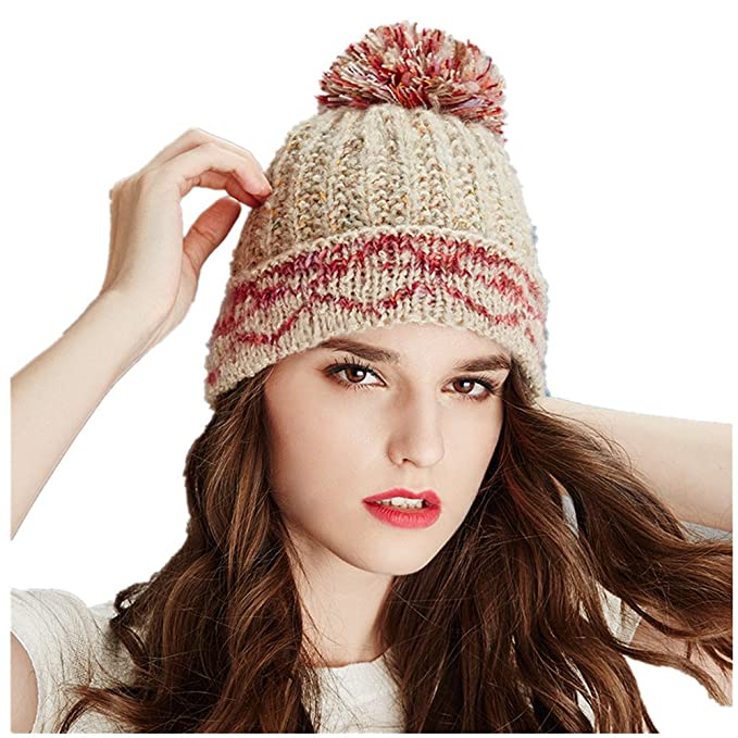 5640357c332 Kenmont Winter Women Hand Knitted Jacquard Beanie Hat Acrylic Color Woolen  Outdoor Ski Chic Cap Gifts