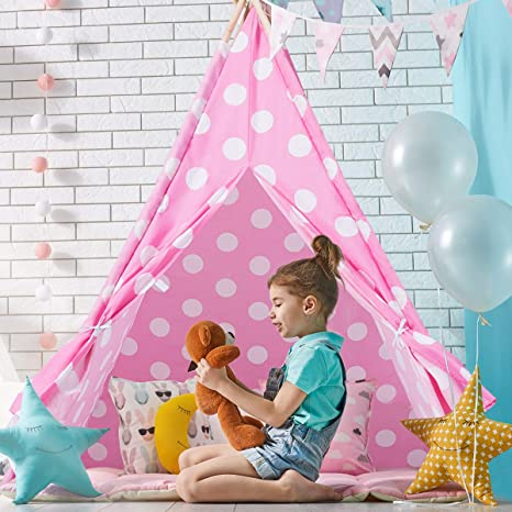 super popular c496a 04eaa Costzon Kids Play Tent Indian Tent 5' Cotton Canvas Baby Children Playhut  with Carry Bag, Indoor and Outdoor Kid Teepee Tent for Toddlers Boys and ...