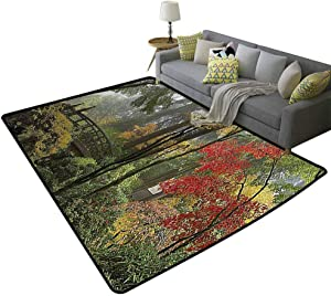 Apartment Decor Collection Outdoor Area Rugs Wet Wooden Bridge at Portland Japanese Garden Oregon in Autumn with Various Trees Picture Gifts for Men Paprika Green, 5'x 8'(150x240cm)