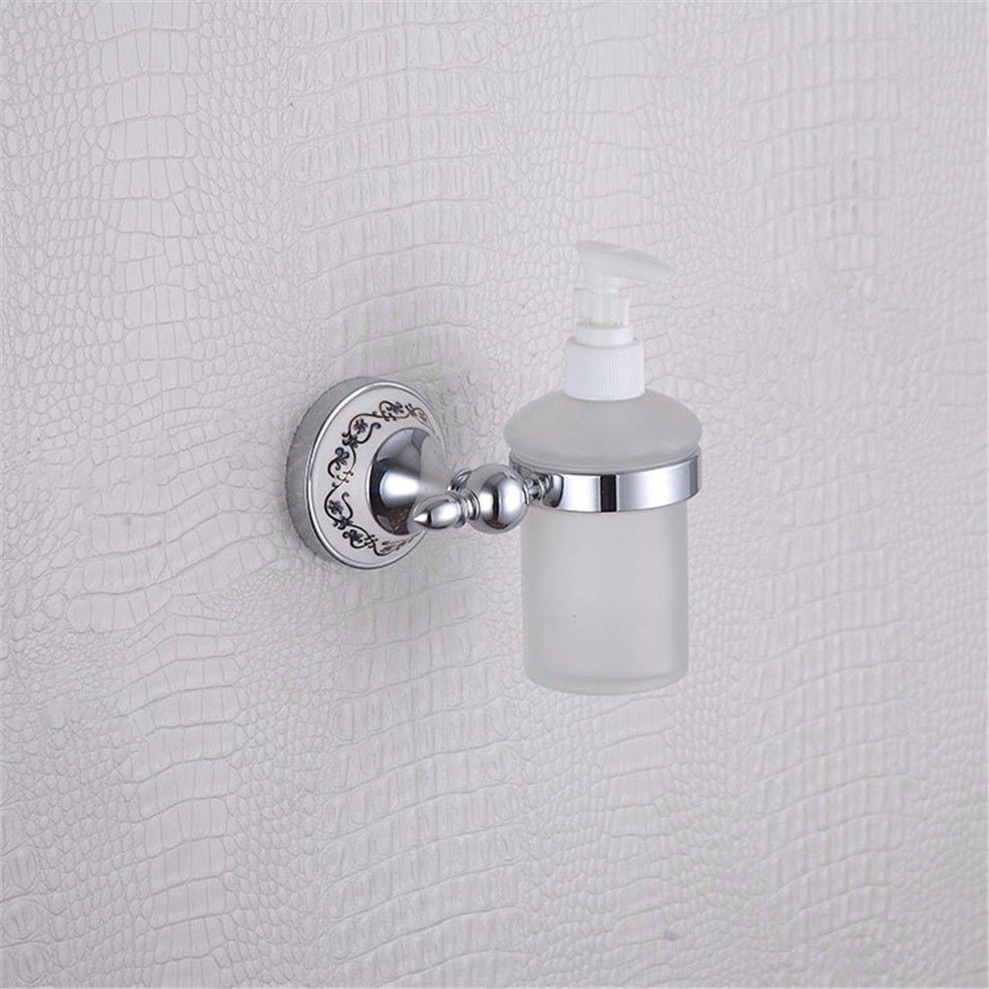 AiRobin-Contemporary Brass Chrome Plated Blue and White Porcelain Lotion Dispenser Bathroom Accessory