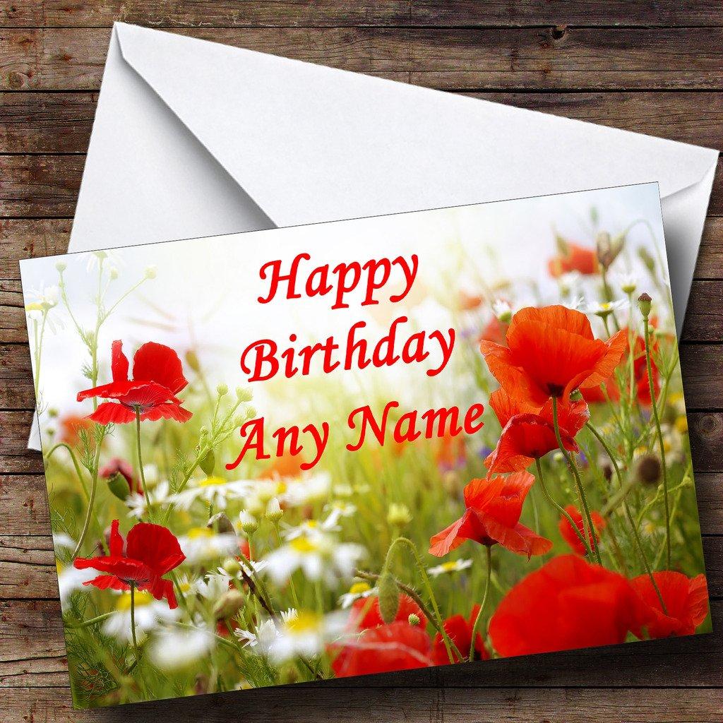 Amazon Poppy Flowers Personalized Birthday Greetings Card