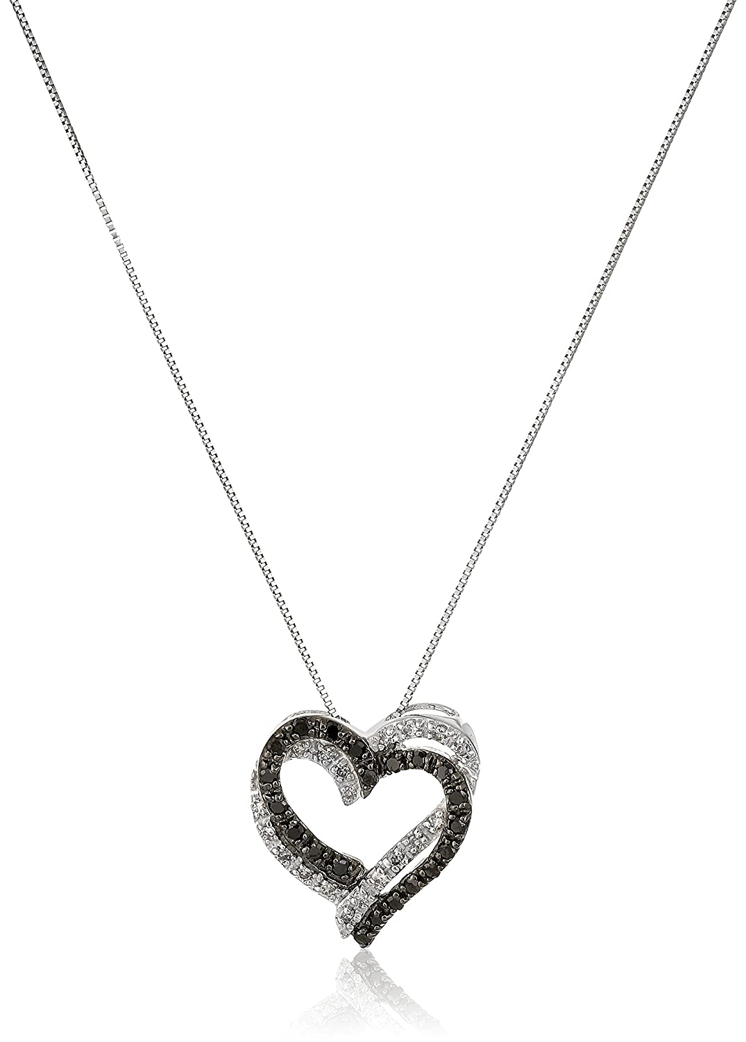 48a1fee422ec8 Amazon.com: 10k White Gold Black and White Diamond Double Heart ...